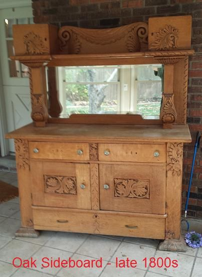 Late 1800's solid oak sideboard- needs a re-do