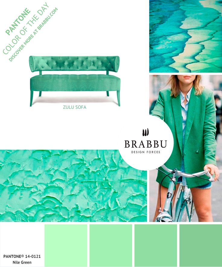 @pantonecolor Color of the Day: Nile Green | Mood Boards. Color Trends. #colors #pantone #moodboard #interiordesign Discover more at: https://www.brabbu.com/moodboards/
