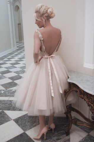 House of Mooshki tea length blush tulle wedding dress