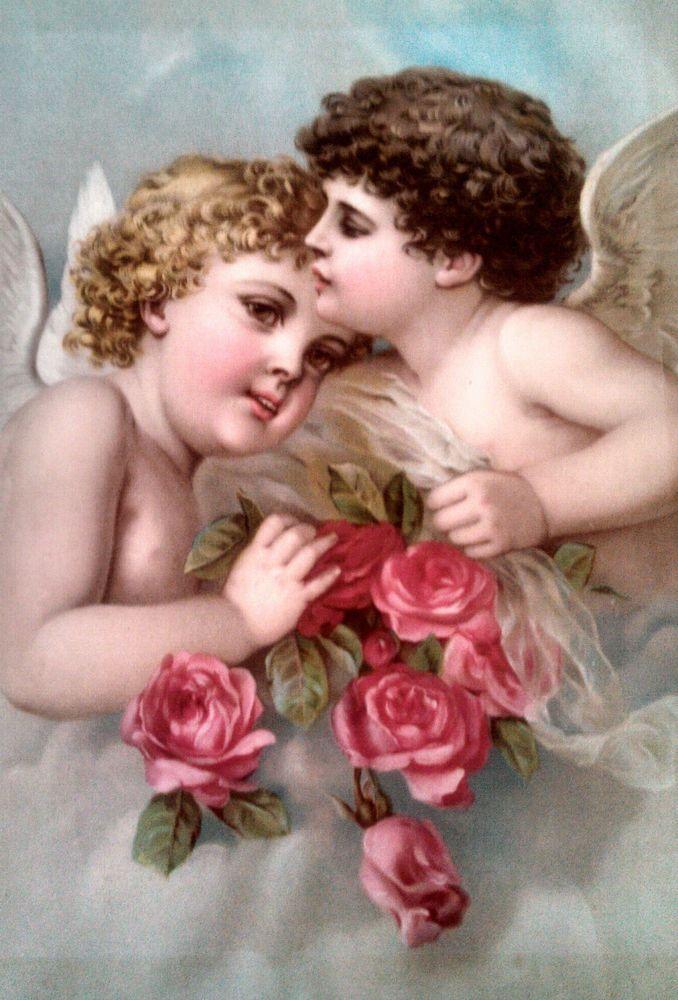 vintage Quaker bread poster, Heissler & Junge Co, Chicago, Cherub Angels, roses