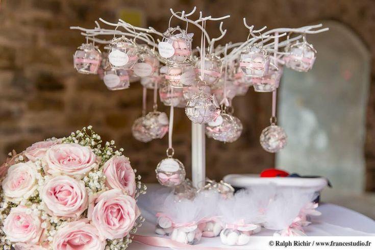 avec petites cages argent pour mariage thème rose poudré et gris ...