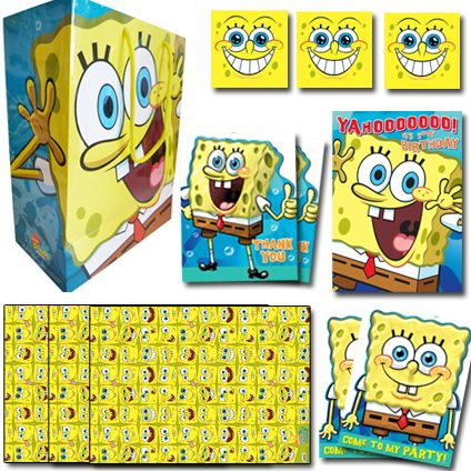 SpongeBob Squarepants Official BUMPER Birthday Pack Birthday Includes: 1 x Birthday Card, 1 x Medium Sized gift bag, 3 x sheets of single wrap, 3 x gift tags, 2 x Pack of 10 Party Invitations, 2 x Pack of 10 Thank You Cards. Only £16.50 (20% saving) and FREE UK Delivery. Take a closer look at https://www.danilo.com/Shop/Cards-and-Wrap/Birthday-Packs/Spongebob-Birthday-Bumper-Pack