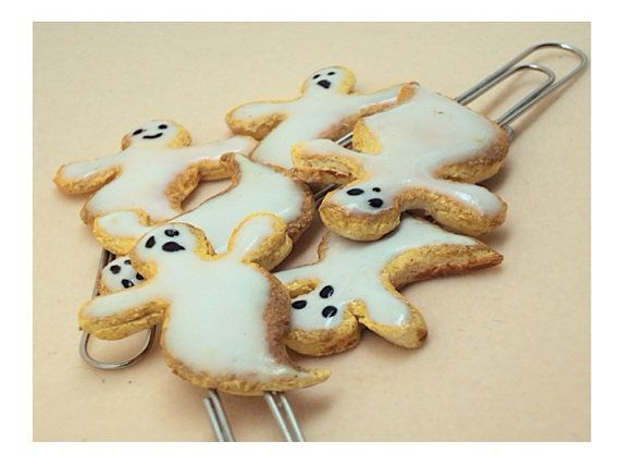 Halloween Ghost Cookies Miniature Paper clip by SmallIdea on Etsy