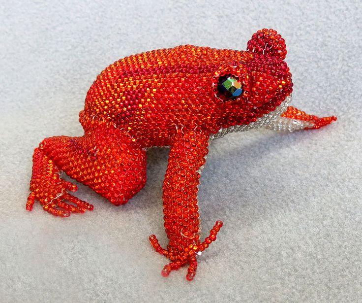 Orange Beaded Frog Figurine Made In Guatemala Frog