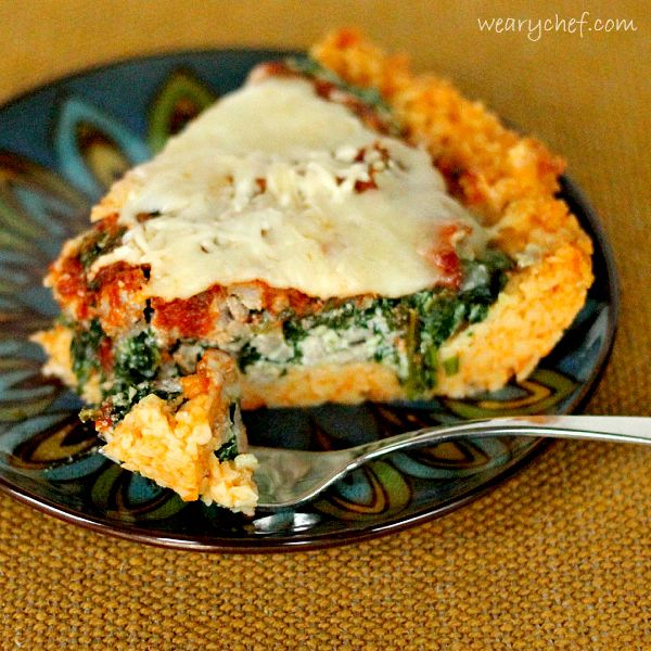 Sausage and Spinach Deep Dish Pizza with Pasta Crust | Recipe | Crusts ...