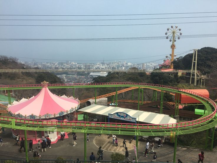 part of Rakutenchi amusement park, Beppu. It have many roller coaster, ferris wheel, a suspension bridge, restaurants, petting zoo, water park and more. A great view to Beppu Bay
