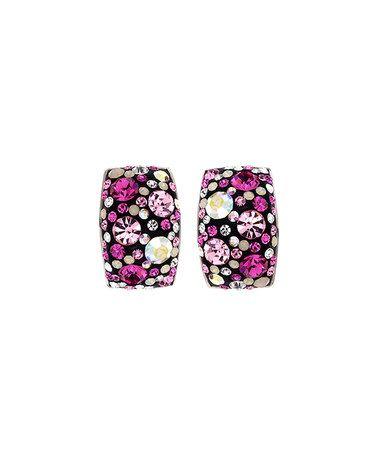 brilliance jayden star Pink & Black Round-Cut Huggie Earrings With Swarovski® Crystals #zulily #zulilyfinds