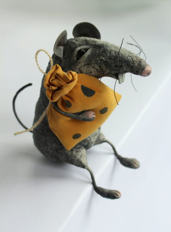Papier mache mouse art doll, Papier mache animal figure, Mouse sculpture with a yellow bag, Papier mache rat