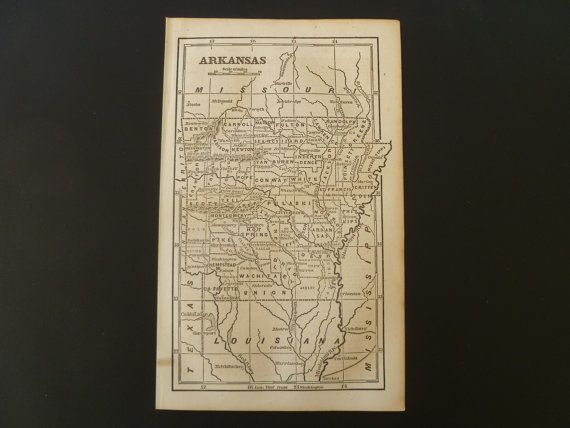 Original 1854 old map of Arkansas  antique by DecorativePrints, €15.95