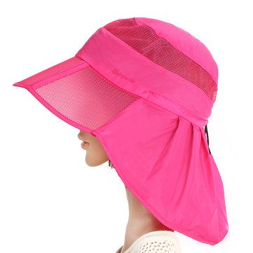 Women Summer Foldable Thin Breathable Wide Brim Beach Hat Outdoor Sport Sunscreen Visor Cap at Banggood