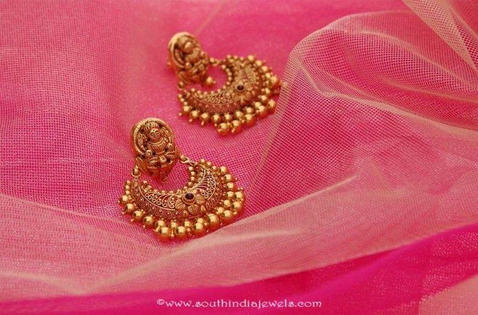 22K Gold Temple Chandbalis From Manubhai Jewellers