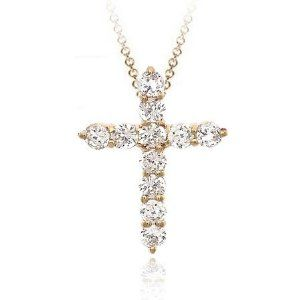 Vermeil (24k Gold over Sterling Silver) Diamond cubic zirconia cross cz Pendant SilverSpeck.com. Save 20 Off!. $19.99. Width: 17 millimeters. Height: 23 millimeters. Length: 18 inches. Total item weight: 1.6 grams