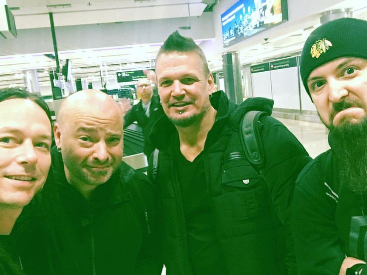 The Disturbed guys in Dublin for their 2017 tour (John Moyer, David Draiman, Dan Donegan, and Mike Wengren)
