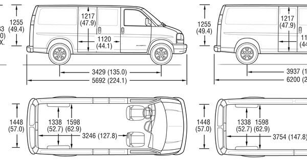 image result for dimensions of chevy express cargo van