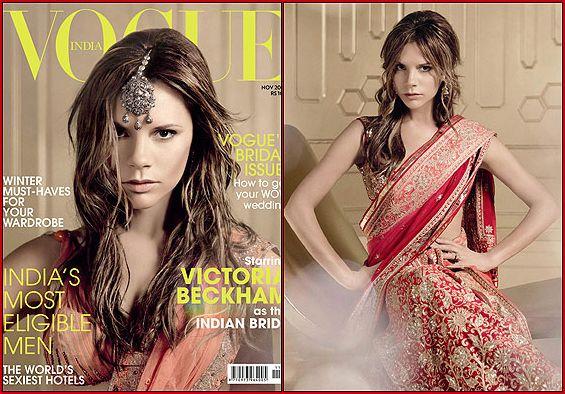 Victoria Beckham Hair and Sari