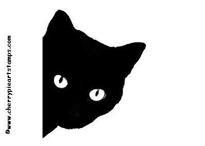 BLACK CAT rubber stamp silhouette cat face by cherrypieartstamps, $7.50