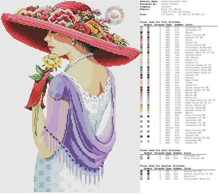 0 point de croix femme au chapeau rouge et chale violet - cross stitch lady with red hat and purple shawl part 1