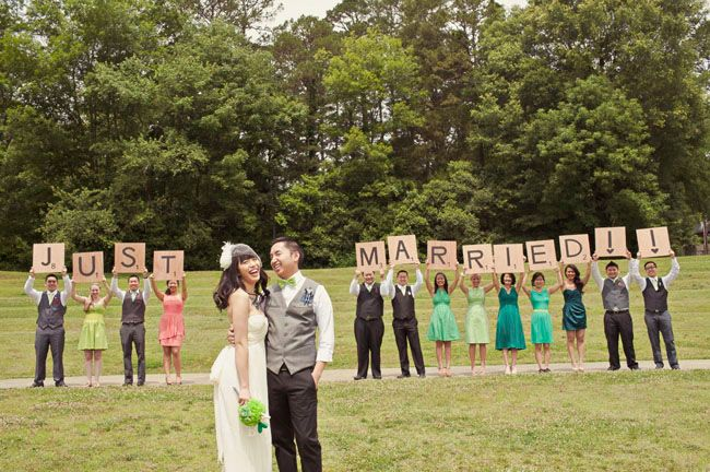 Giant Scrabble tiles say Just Married! - so cute :)
