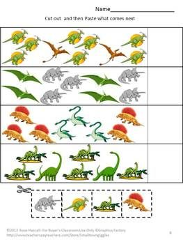 Dinosaurs have always been a fascination for children. The Dinosaur graphics used in this 21 page Fun With Dinosaurs Cut and Paste Worksheet Set will satisfy that fascination and provide fun while learning.  Fun With Dinosaurs consists of the following: •Coloring Matching  •What Come Next •Letter-upper case, low case Matching •Shape Matching •Number Matching •Counting •Addition •Dinosaur Coloring Pages