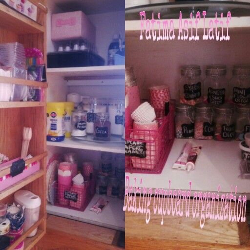 #baking#cupboard#organisation#pink I used a lazy susan, loving how neat and accessible things are. Shelves on door give me extra place. Packed my straws, cake pop sticks, boxes etc there.... bakings gonna be a pleasure... alhumdulillah