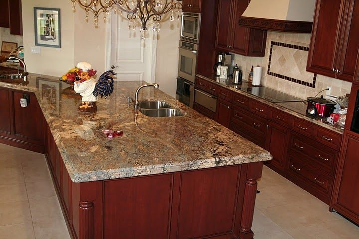 Cherry cabinets with granite countertops crema bordeaux for Cherry bordeaux kitchen cabinets