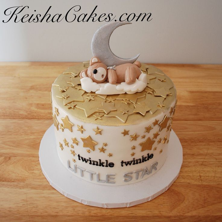 Twinkle twinkle little star gender reveal cake. With gold stars, moon, and sleeping teddy bear. www.keishacakes.com