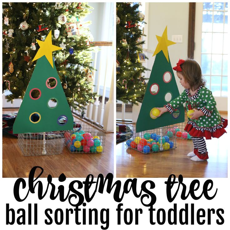 Christmas Tree Ball Sorting for Toddlers