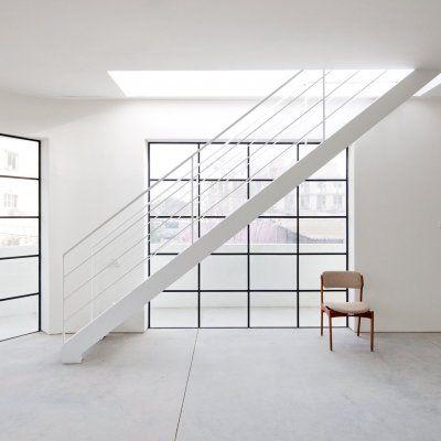 White metal stairway