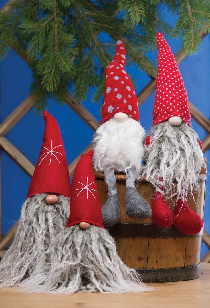 "NISSE FIGURES  Guaranteed to bring a smile, our felt-bodied figures now include shelf-sitting family members.    $21.00 9""    $28.50 11""  $23.50 10""  shelf-sitting (assorted, let us pick one for you)"