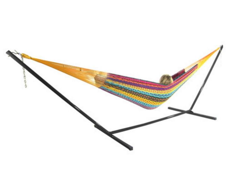Multicolor Handwoven Thick Cord Mayan Hammock With Stand 2 Person XXL #hammock