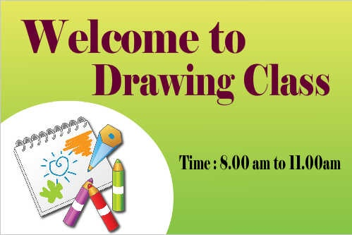 Welcome to Drawing Class School Banner