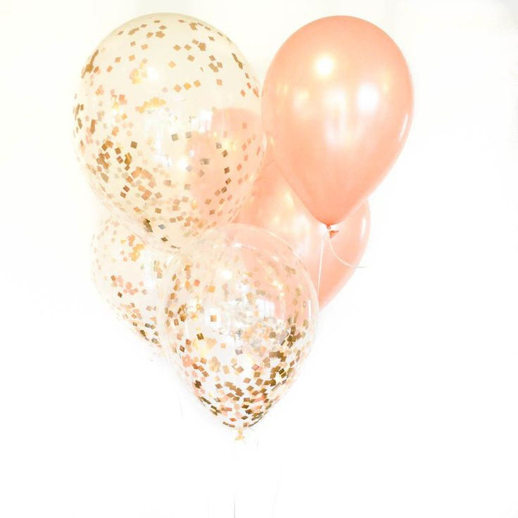 Rose Gold Confetti Balloons, 11 in.