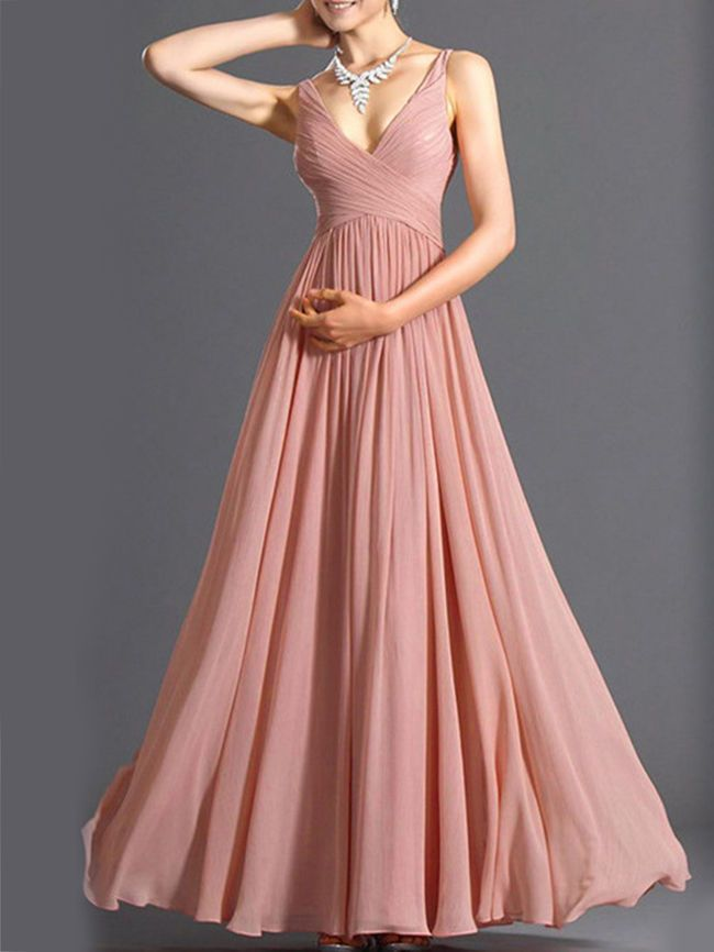 Spaghetti Strap Plain Chiffon Maxi Dress
