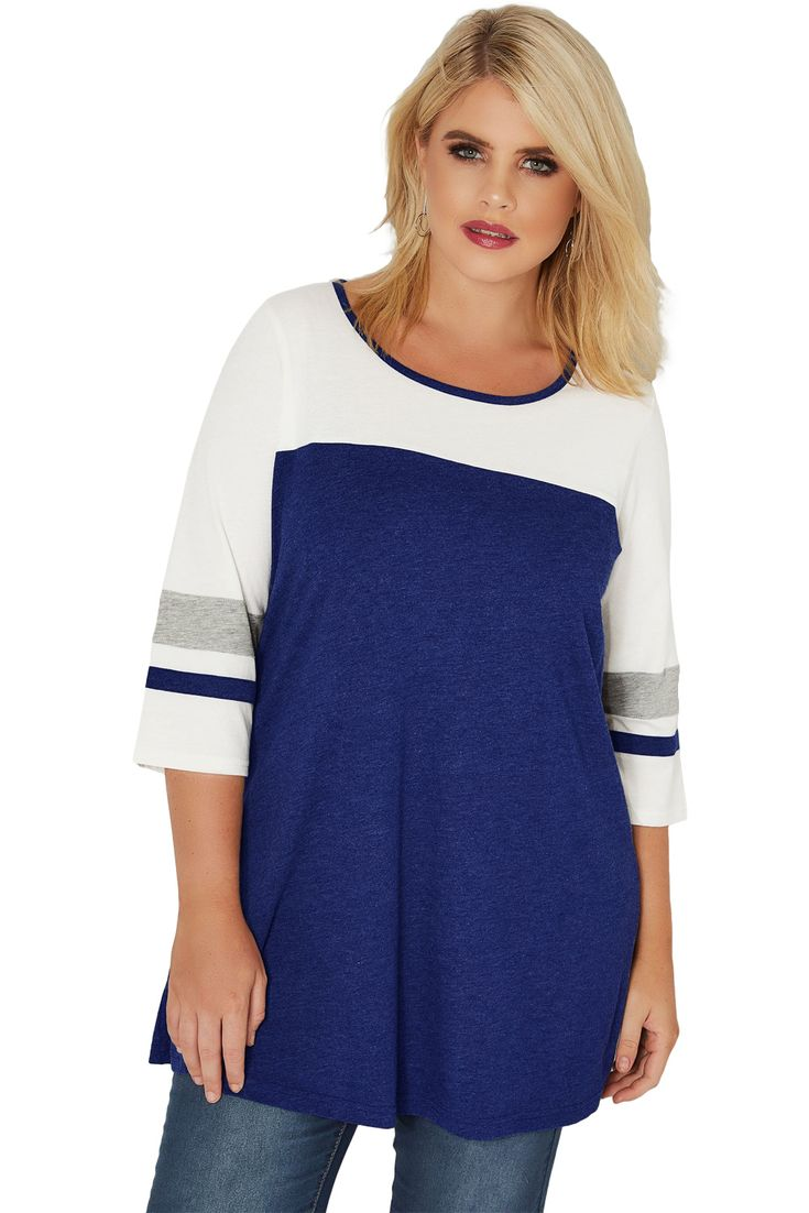 Navy Marl Color Block Quarter Sleeved Plus Size Top 17