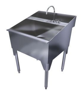 """RIDALCO stainless steel laundry sinks are constructed from heavy-duty, food industry quality stainless steel. Stainless steel is durable, corrosion resistant, sanitary and easy to clean, flexible making it easy to shape to fit unique spaces, and 100% recyclable! This well-crafted sink will last a lifetime and hold its value for generations.  Our stainless steel laundry sinks feature 16 gauge type 304 construction, 3"""" wide deck to accommodate standard deck mounted faucet, and adjustable…"""
