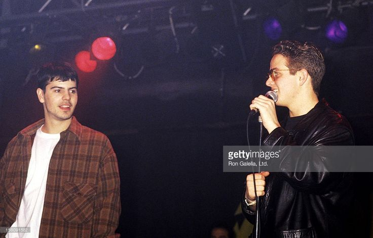 Musicians Jordan Knight and Joey McIntyre attend the Benefit Concert for the AIDS Vaccine Program at St. Jude Children's Research Hospital on February 4, 1994 at Paragon Nightclub in Miami, Florida.