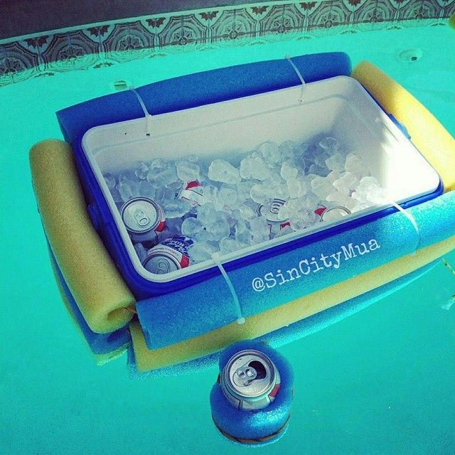 My hubby was tired of getting out of the pool to get a new beer. So this is what he made out of a cooler & 2 pool noodles  #socrafty #poolcooler