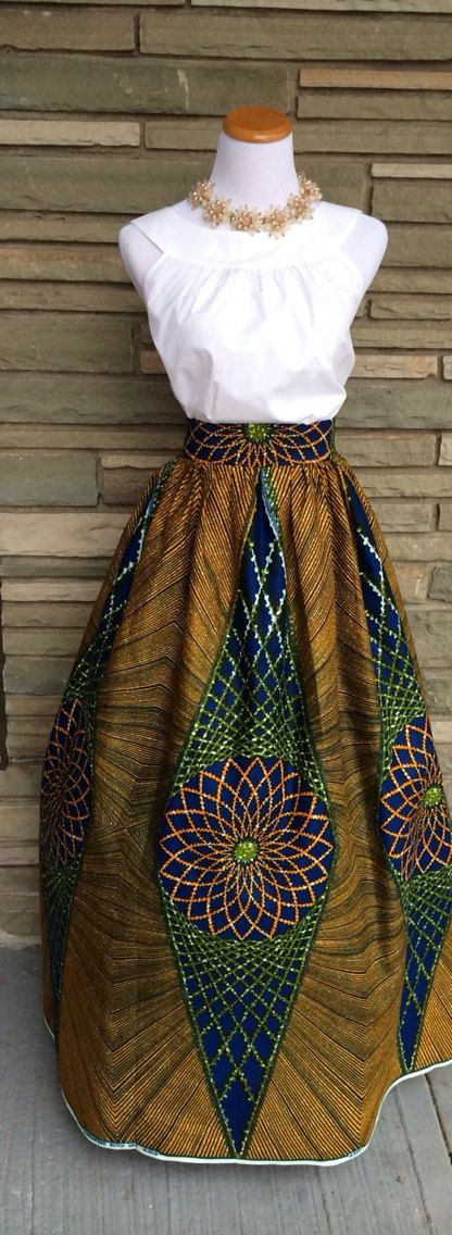 The Elizabeth Maxi Skirt-  African Print 100% Holland Wax Cotton Maxi Skirt