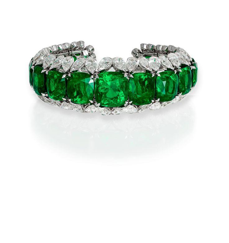 David Morris natural Colombian emerald cushion-cut & diamond cuff bracelet. Total emerald weight 84.65cts. Total diamond weight 32.56cts.