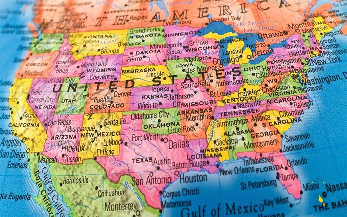 Descargar fondos de pantalla Mapa de los estados UNIDOS, en el mapa de los estados de los estados unidos, mapa geográfico, 4k, América del Norte, EEUU, estados de los estados unidos