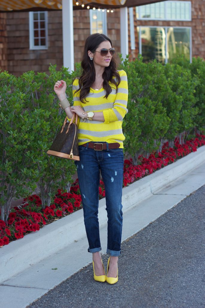 Weekend brights.: Yellow Stripes, Outfit, Stripes Sweaters, Yellow Shoes, Boyfriends Jeans, Heels, The Secret, Pink Peonies, Neon Yellow