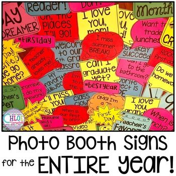 Use these photo booth props all school year! Perfect signs for back to school events: meet the teacher, open house, back to school night, parent conferences, etc. Even includes signs for the rest of the year.This resource contains over 100 signs AND an editable version!
