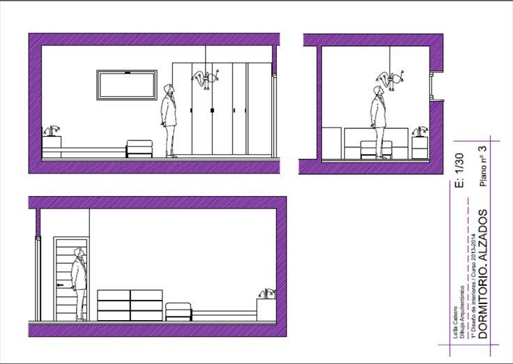 Planos de alzado de un dormitorio, diseñado con mobiliario IKEA.