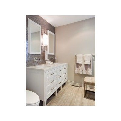 bathrooms - Benjamin Moore - Revere Pewter - Whisper Back Caesarstone Casamood Vetro cemento Lux Glass Tiles Mare Marrone Honed Limestone greige walls white doble bathroom vanity polished nickel wall-mount faucets white recessed bathroom mirrord by polyvore.com $0