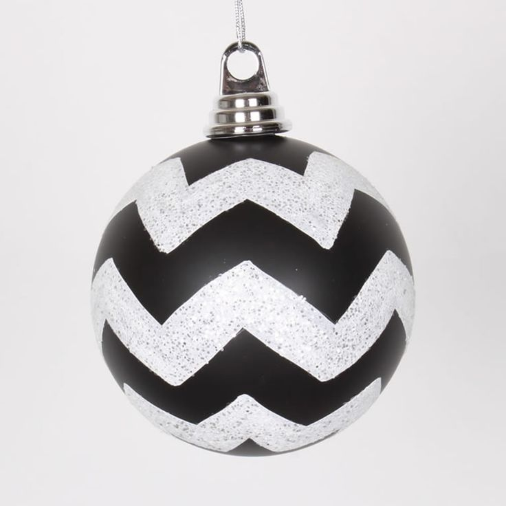 "Black Matte and White Glitter Chevron Shatterproof Christmas Ball Ornament 4.75"" (120mm)"
