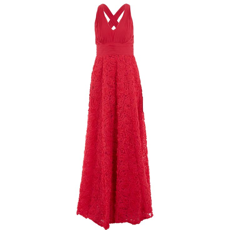 """Aidan Mattox"" Lipstick Red Plunge Rosette Dress - TK Maxx"
