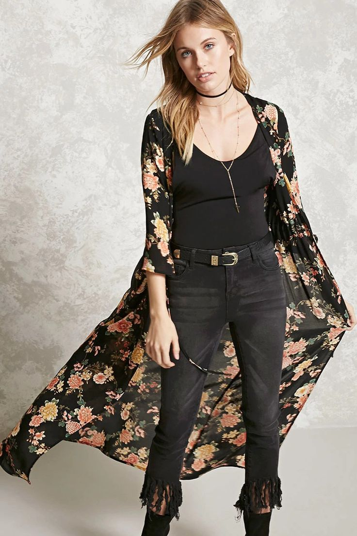 Forever 21 Contemporary - A semi-sheer woven cardigan featuring a floral print, V-neckline, a self-tie drawstring waist, 3/4 sleeves, and a longline silhouette.