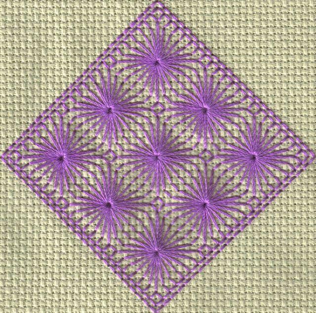Stitched model of free outlined diamond eyelet stitch