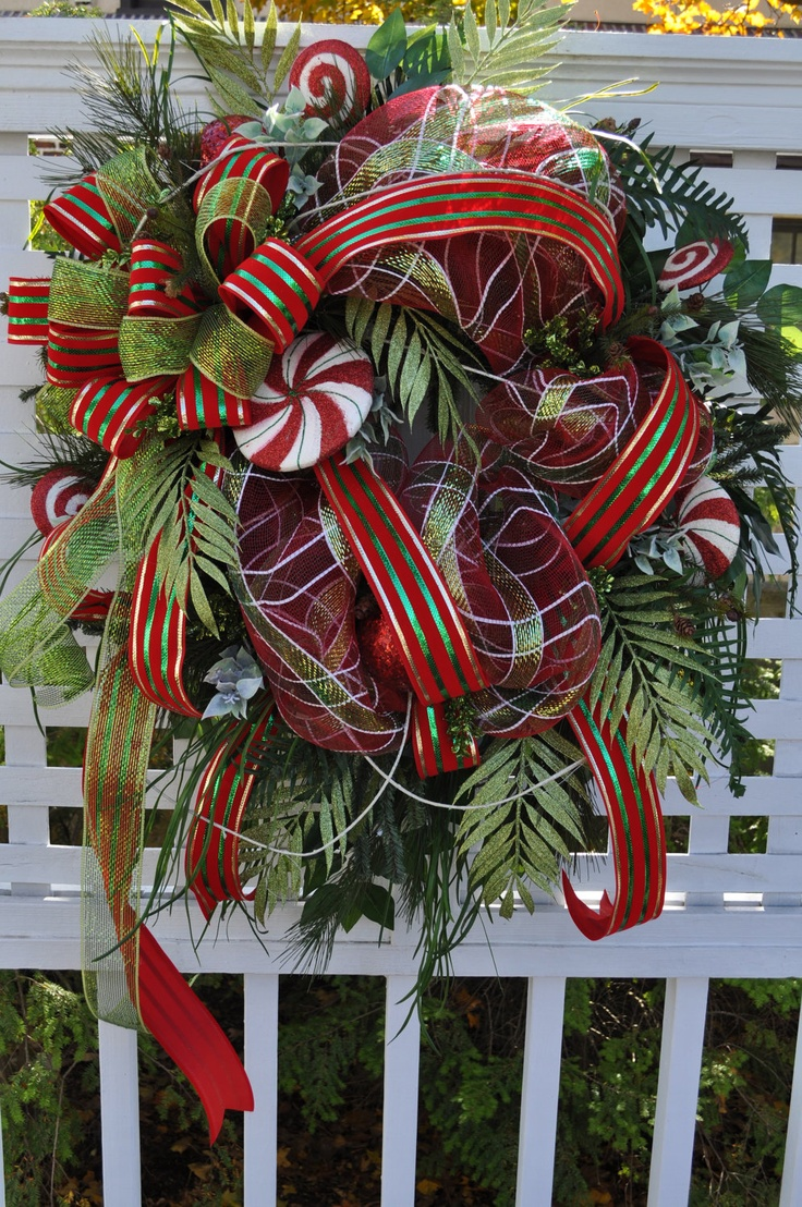 Front door deco mesh christmas decorations - Deco Mesh Wreaths Xl Christmas Front Door Wreath Wreaths Full Lollipops Sparkly Glittered Beautiful Lush Greenery