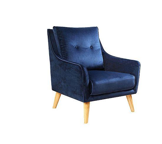 on adopte sans hesiter ce joli fauteuil fauteuil lauranne tissu bleu fonce but